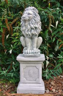 Steinfigur Löwenset aus Steinguss mit Sockeln frostfest 91 cm H Löwen - Vorschau 4