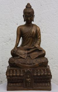 Bronzefigur Buddha auf Sockel, Skulptur aus Bronze, Bronzebuddha