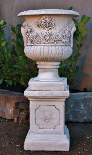 Steinfiguren Rosen Amphore mit Sockel, Übertopf aus Steinguss