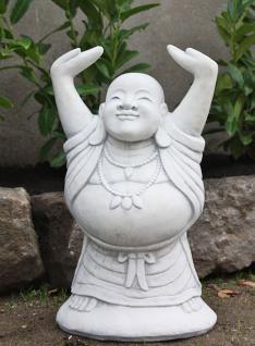 Steinfigur Sitzender Buddha, Figur aus Steinguss