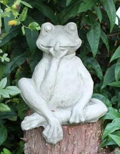 Steinfigur Frosch Kantenhocker, Tierfigur aus Steinguss