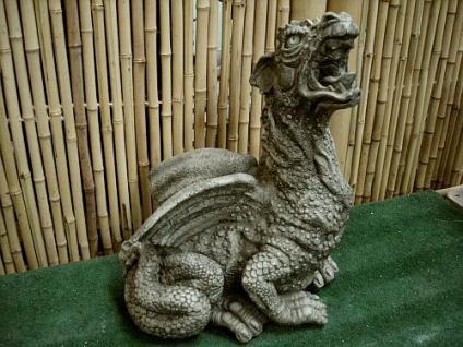 Steinfigur, Drache Angry, Drache aus Steinguss, Wasserspeier für Garten & Teich