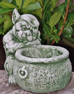 Steinfiguren Gargoyle mit Kochtopf, Fantasyfigur aus Steinguss, zum bepflanzen