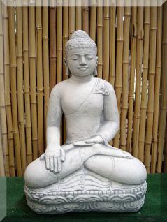 Steinfigur Buddha Mudra, Skulptur aus Steinguss