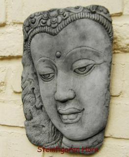 Steinfiguren Wandbild Buddha aus Steinguss, patiniert