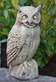 Steinfigur Eule, 40 cm Hoch, Tierfigur aus Steinguss, Eulen Kauz Uhu