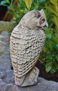 Steinfigur Eule, 40 cm Hoch, Tierfigur aus Steinguss, Eulen Kauz Uhu - Vorschau 2
