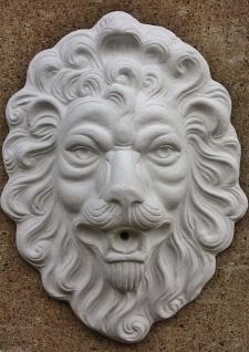 Steinfigur Wasserspeier Löwenkopf, mit Öse zum Aufhängen, aus Steinguss