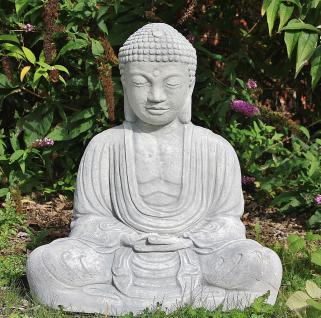 Steinfigur Sitzender Buddha groß, Figur aus Steinguss, patiniert