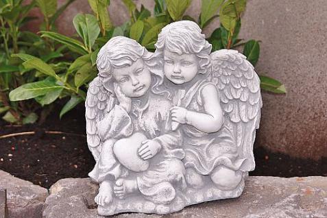Zwei Engel , sitzend für Garten, Friedhof & Balkon