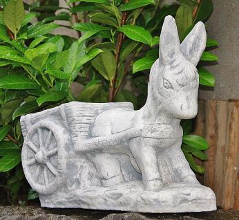 Steinfigur Esel zieht Karre, bepflanzbar, Figur aus Steinguss