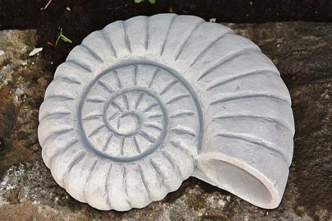 Steinfiguren Ammonit, Muschel, aus Steinguss