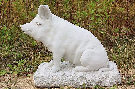 Steinfigur Schwein, Tierfigur aus Steinguss, Sau, Eber, Schweine, Säue