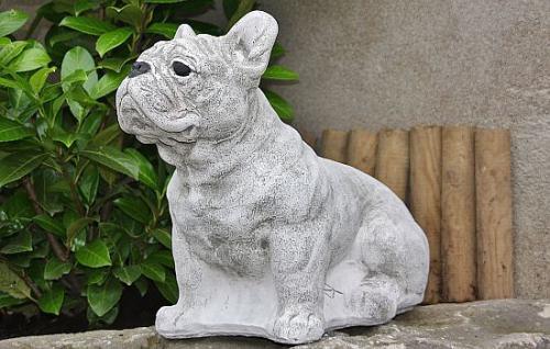 Französische Bulldogge, Hund aus Steinguss, Hunde, Hundefigur, Tierfigur