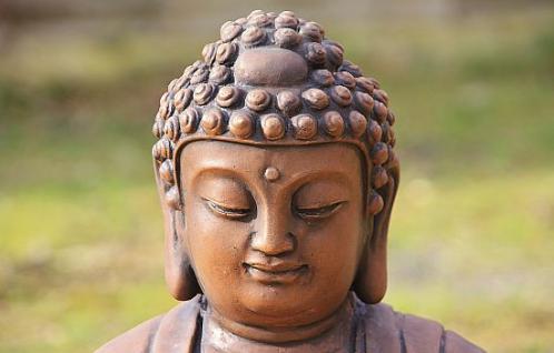 Steinfigur Buddha aus Steinguss 60 cm H für Koiteich, patiniert - Vorschau 3