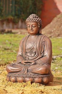 Steinfigur Buddha aus Steinguss 60 cm H für Koiteich, patiniert - Vorschau 4