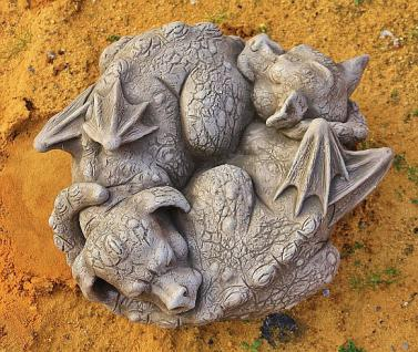 """Steinfigur Drachen """" Yin & Yan """", Fantasyfigur aus Steinguss, aus der Serie """"Pheebert's"""", von Fiona Scott"""