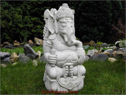 Steinfigur Bali Ganesha, Figur aus Steinguss