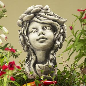 Steinfigur Blumenkind Sternwurz, Figur aus Steinguss