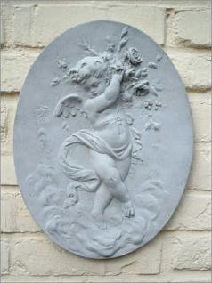 Steinfiguren Wandbild Engel, Wanddekoration aus Steinguss