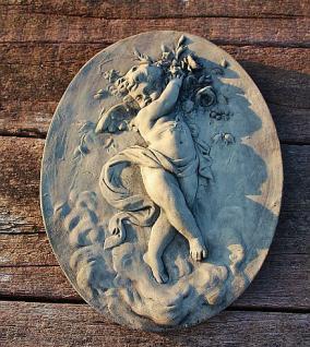 Steinfigur Wanddekoration Engel, Skulptur aus Steinguss