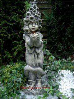 Steinfigur Lichter Fee Fingerhut, Lichterfee aus Steinguss, Troll für Garten
