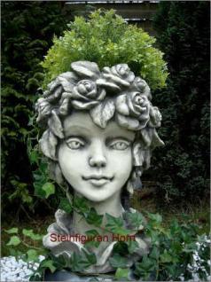 Steinfiguren Blütentopf Rose, Blumentopf aus Steinguss
