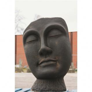 Büste Buddha Gesicht aus Steinguss patiniert Frostfest für den GARTEN NEU JA-025
