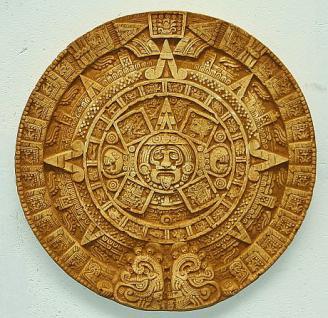 Steinfigur Maya Atzteken Wand Kalender Antik patiniert