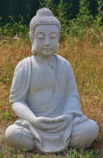 Steinfigur Buddha aus Steinguss Antik gearbeitet für Koiteich