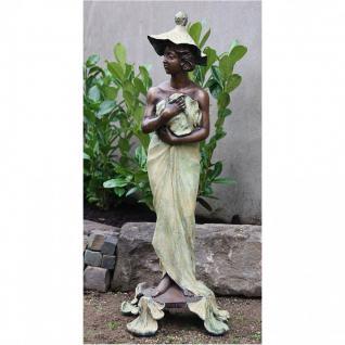 Bronzefigur Frau mit Hut als Wasserspeier, Skulptur aus Bronze