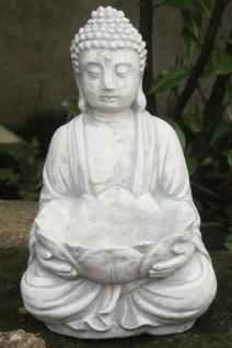 BUDDHA mit SCHALE aus STEINGUSS FROSTFEST WETTERFEST BUDDHISMUS NEUHEIT PO-1785