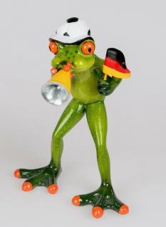 WM FROSCH SPIELT FUßBALL FUßBALLER TIERE FIGUR DEKORATION DEKO NEU BOL-717108T