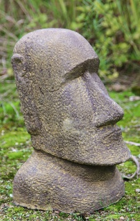 OSTERINSEL KOPF 33 cm HOCH FIGUR STEINGUSS NEU FROSTFEST GARTEN APL-Moai-030af