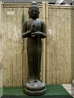 """Steinfigur Buddha """"Rad der Lehre"""", aus Steinguss"""