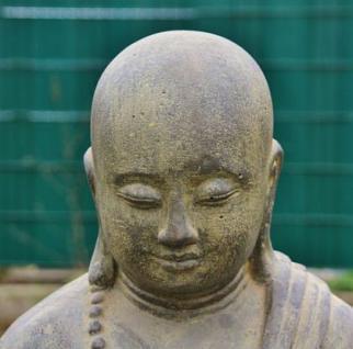 Stehender Mönch, Handhaltung: Begrüssung, Skulptur aus Steinguss, 125 cm hoch! - Vorschau 2