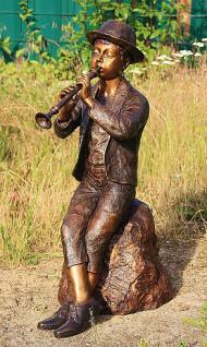 Bronzefigur Wasserspeier Flötenspieler, 80 cm hoch, Skulptur aus Bronze, Junge Jungen Bronzeskulptur - Vorschau 2