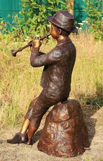 Bronzefigur Wasserspeier Flötenspieler, 80 cm hoch, Skulptur aus Bronze, Junge Jungen Bronzeskulptur - Vorschau 3