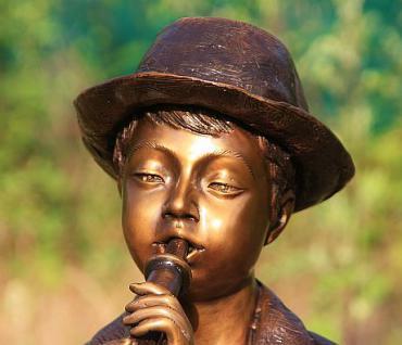 Bronzefigur Wasserspeier Flötenspieler, 80 cm hoch, Skulptur aus Bronze, Junge Jungen Bronzeskulptur - Vorschau 4