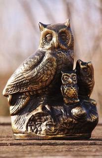 Bronzefigur Eulenfamilie, Skulptur aus Bronze
