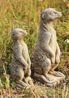 Steinfigur Erdmännchen Set, Figuren aus Steinguss, patiniert, Tierfigur - Vorschau 2