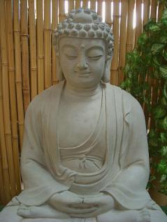 Steinfiguren Buddha aus Steinguss 60 cm H für Koiteich - Vorschau 2