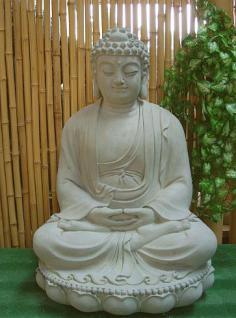 Steinfiguren Buddha aus Steinguss 60 cm H für Koiteich