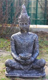 Steinfigur Buddha, 80 cm hoch, Figur aus Steinguss, schwarz patiniert