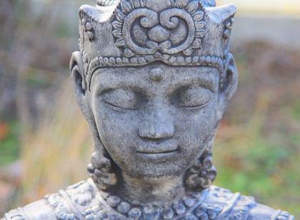 Steinfigur Buddha, 80 cm hoch, Figur aus Steinguss, schwarz patiniert - Vorschau 2
