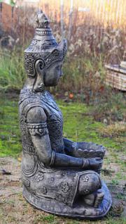 Steinfigur Buddha, 80 cm hoch, Figur aus Steinguss, schwarz patiniert - Vorschau 3