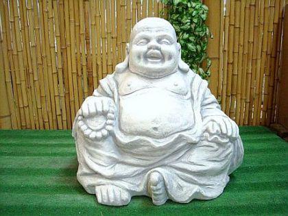 Sitzender Buddha, Figur aus Steinguss