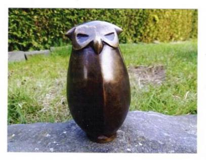 Bronzefiguren Eule, stehend, Figur aus Bronze Greifvogel Vogel Vögel