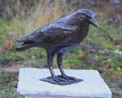 Bronzefigur Rabe, Tierfigur aus Bronze, Bronzevogel Vogel Vögel