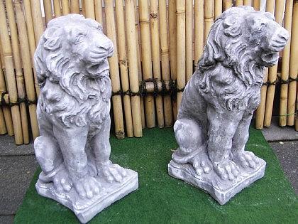 Steinfigur 2 Löwen Anthrazit aus Steinguss frostfest massiv Löwe - Vorschau 2